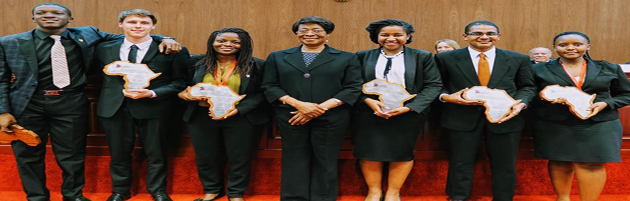 The School of Law Makerere University was represented by Ms. Haba Ruth  Muhawe and Mr. Dawood Gulam Hussein ( 1st and 2nd from right hand respectively)